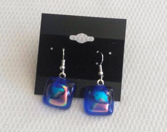 Blue Dichroic Earrings-Blue Glass Earrings-Blue Dichroic Jewelry-Blue Jewelry-Blue Earrings