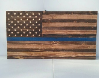 Wood flag, thin blue line, police lives matter, officer support flag.