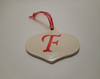 Personalized First Initial Ceramic Ornament F, Handmade Pottery, Hand Painted, Christmas, Holiday Decor