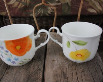 1975 - 1976 Mikasa - Poppy Love - Tea Cups - set of TWO - EXCELLENT Condition