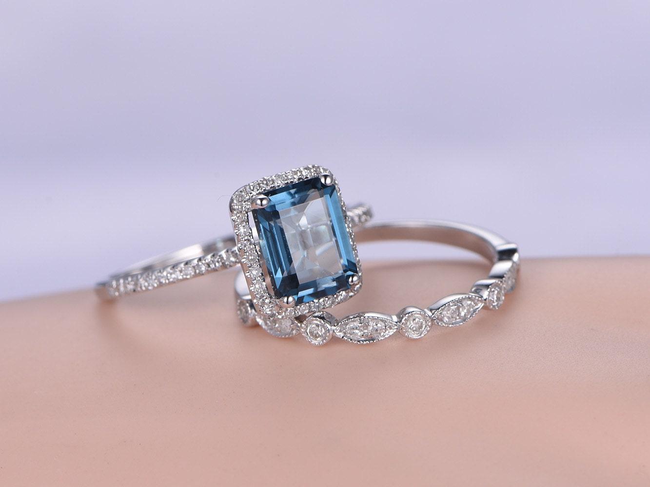 emerald cut blue topaz bridal ring set2pcs by