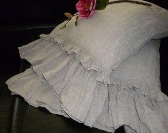 Linen Pillow Sham Pillowcase with ruffles Natural Linen Pillow Sham Standard Queen King Euro size Gray Linen Bedding Organic Pure Flax