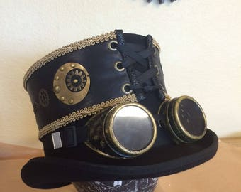 Steampunk Robot Eye Leather Top Hat Band