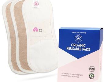 Hesta Organic Cotton Waterproof Reusable Washable Cloth Pantyliners (Brown), Set of 3