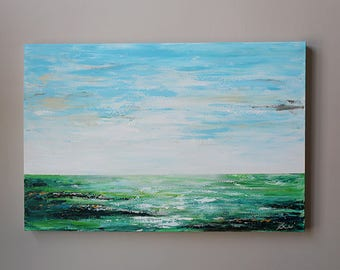 wall art,24x36 ,abstract painting ,original abstract art ,modern abstract art,blue abstract ,seascape,landscape,green abstract