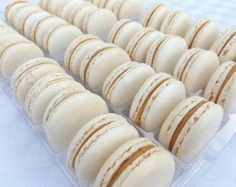 12 French Macarons - Salted Caramel French Macarons made by hand and to order. Macaroons, Freshly baked with Salted Caramel.