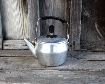 Vintage Aluminium Small Teapot - Soviet Vintage 1960s Rural Metal Kettle Teapot - Old Farmhouse Teapot -Vintage Aluminium Rural Kitchenware