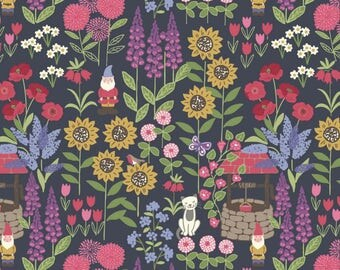 By The HALF YARD - Grandma's Garden by Lewis and Irene, Pattern #A195.3 Grandma's Garden on Dark Grey, Spring Flowers, Gnomes, Cats