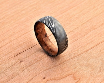 Stainless Damascus Steel Wedding Ring With Wood Sleeve Liner Handmade in Scotland