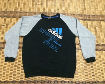 Vintage 90's Adidas Black 3 Stripes Sport Classic Design Skate Sweat Shirt Sweater Varsity Jacket Size L #A586
