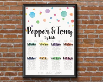 Colourful Rainbow Wedding Seating Chart Table Plan - Poster Print - Digital Download - Wedding Printable - Table Plan - Rainbow Wedding