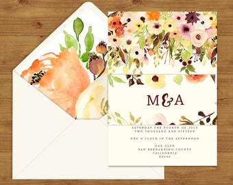 Autumn Watercolour Floral Belly Bands and Envelope Liners - Autumn Wedding - Fall Wedding - Wedding Invitation Extras - Wedding Stationery