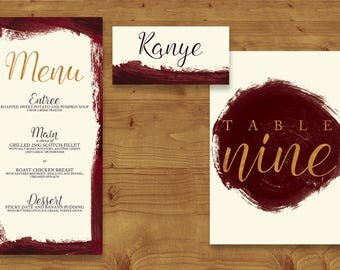 Marsala Wine Place Cards, Table Numbers, Menu Cards - Marsala Wedding - Burgundy Wedding - Table Name - Name Card - Wedding Stationery