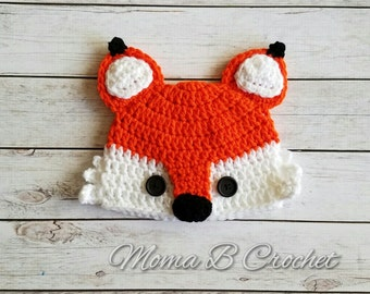 Crochet Fox Hat, Fox Hat, Baby Fox Hat, Child Fox Hat, Adult Fox Hat, Fox Birthday Hat