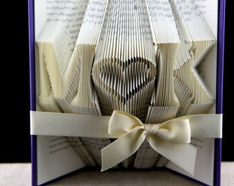 Folded Book Valentines Day Gift For Her, Valentines Gift For Girlfriend, Custom Book Sculpture Valentines Day Gift, Personalized Gift