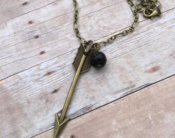 Arrow Antique Bronze Essential Oil Diffuser Pendant Necklace Lava Stone Necklace necklace Essential Oil Diffuser Necklace Aromatherapy