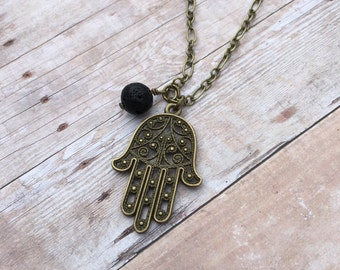 Yoga Hand Antique Bronze Essential Oil Diffuser Pendant Necklace Lava Stone Necklace long necklace Essential Oil Necklace Diffuse