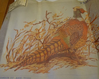 Vintage Ringneck Pheasant tapestry Embroidery canvas