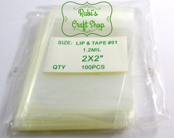 100 Clear Cello Bags 2X2' Lip and Tape-Craft Supplies- Resealable Clear Cellos Bags -Self Adhevise Cellos - Party Favor Bags