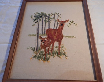 Crewel wall hanging of Doe with Fawn Handmade in the 1970's