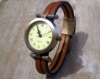 Shows Brown, Bronze, clasp loving Bronze Dial Leather Bracelet