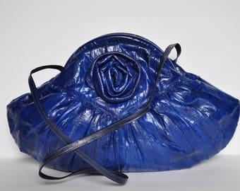 1980s Cobalt Blue Eel Skin Rosebud Purse with Suede Interior