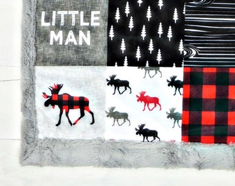 Baby minky blanket, Little Man blanket, moose red grey black woodland blanket,  faux fur blanket, cuddle blanket, baby shower gift, birth