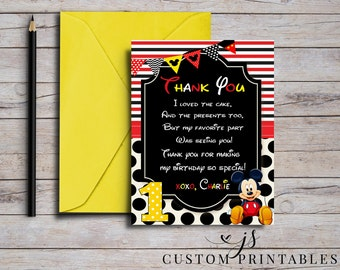 Mickey Mouse Thank You Card; Printable Card; Mickey Mouse Birthday; Printable Party; Custom Thank You; Digital File; DIY