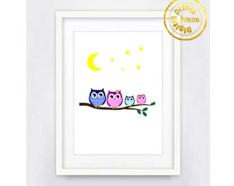 Printable art Digital Prints modern printable art Home decor cute owl family