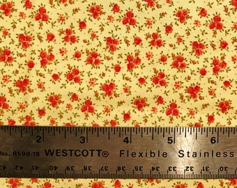 Floral cotton fabric with dark pink flowers on tea-stain background - 1-3/4 yards