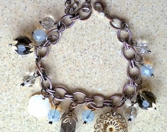 Shabby Chic Style Two Tone Accessorize Charm Bracelet