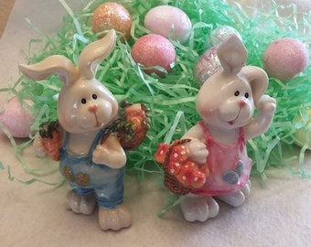 "Adorable Pair Vintage Resin Hand-Painted Easter Bunny Figurines Each measures approx 6"" tall with beautiful expressive faces. No. 47"