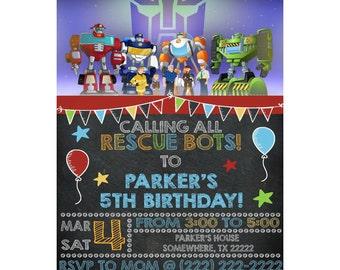 Transformers rescue bots boys chalkboard personalized birthday invitation