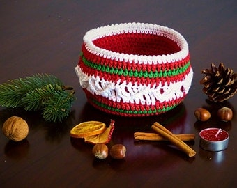 "PDF: Beautiful Basket ""Christmas Delight"" Crochet Pattern"
