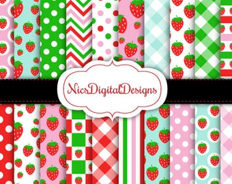 Buy 2 Get 1 Free-20 Digital Papers. Strawberry Mixed Patterns (13D no 2) for Personal Use and Small Commercial Use Scrapbooking