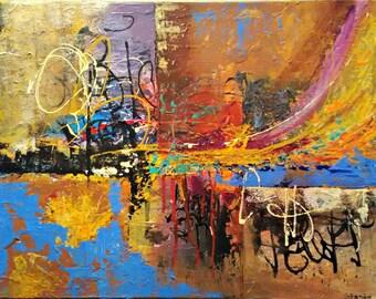 Abstract Mixed Media Textured Fine Art 18x24