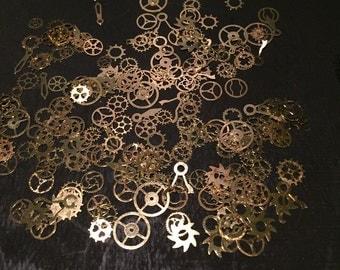 100PC Ultra-thin Steampunk Nail Art Brass Gears, Mechanical Miniature Watch Parts Gears Cogs
