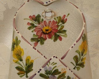 Floral Porcelain Wall Pocket Made in Italy