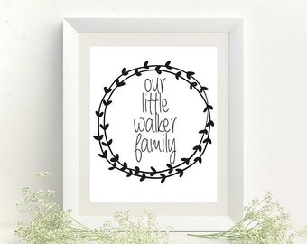 Our little family / Family Print / Personalised / Home Decor / Wreath /
