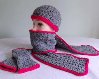 Ladies' Crochet Hat, Scarf, Fingerless Glove Set