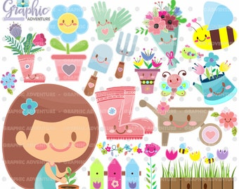 75%OFF - Spring Clipart, Spring Graphics, COMMERCIAL USE, Kawaii Clipart, Flower Graphics, Flower Clipart, Bee Graphics, Bee Clipart, Garden