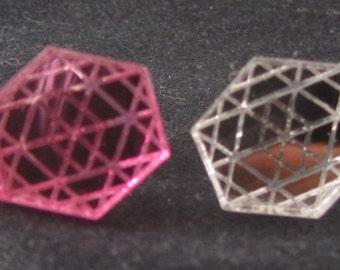 Hexagonal mirror acrylic laser cut earrings