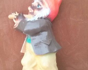 Antique garden Gnome with flute by Gustav Liebermann 34 cm garden decoration gift vintage