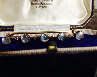 RESERVED FOR RACHEL, Do not buy: Vintage Antique Victorian Moonstone Diamond 10k Gold Brooch Bar Pin