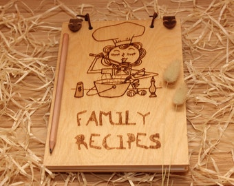 Family recipes of CookBook, Gift cook, individual engraving text.