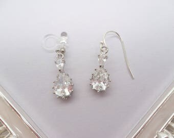 Invisible clip on earrings or Sterling Silver earrings,Sliver double drop CZ crystal,Non pierced Earrings,gift for women