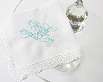Happily Ever After Phrase on an Embroidered Handkerchief