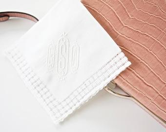 Basket Weave Trim Monogrammed Handkerchief With Vienna Font