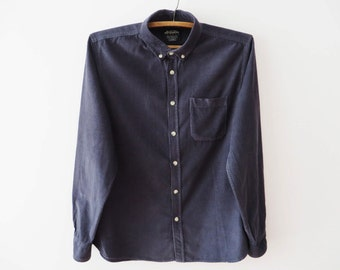 Navy blue button up etsy for Blue button up work shirt