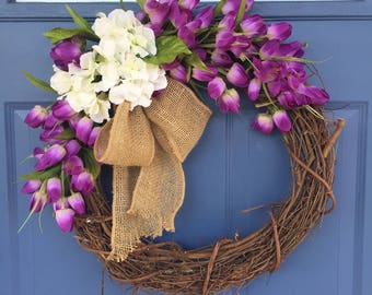 "18"" Purple Tulip Wreath"